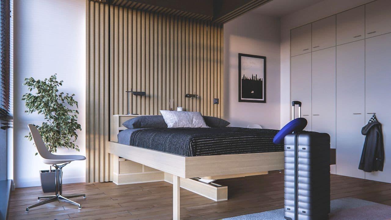このあと 上からベッドが降りてきます! 狭い部屋専用テレワークシステム「クラウドベッド テーブルエディション」