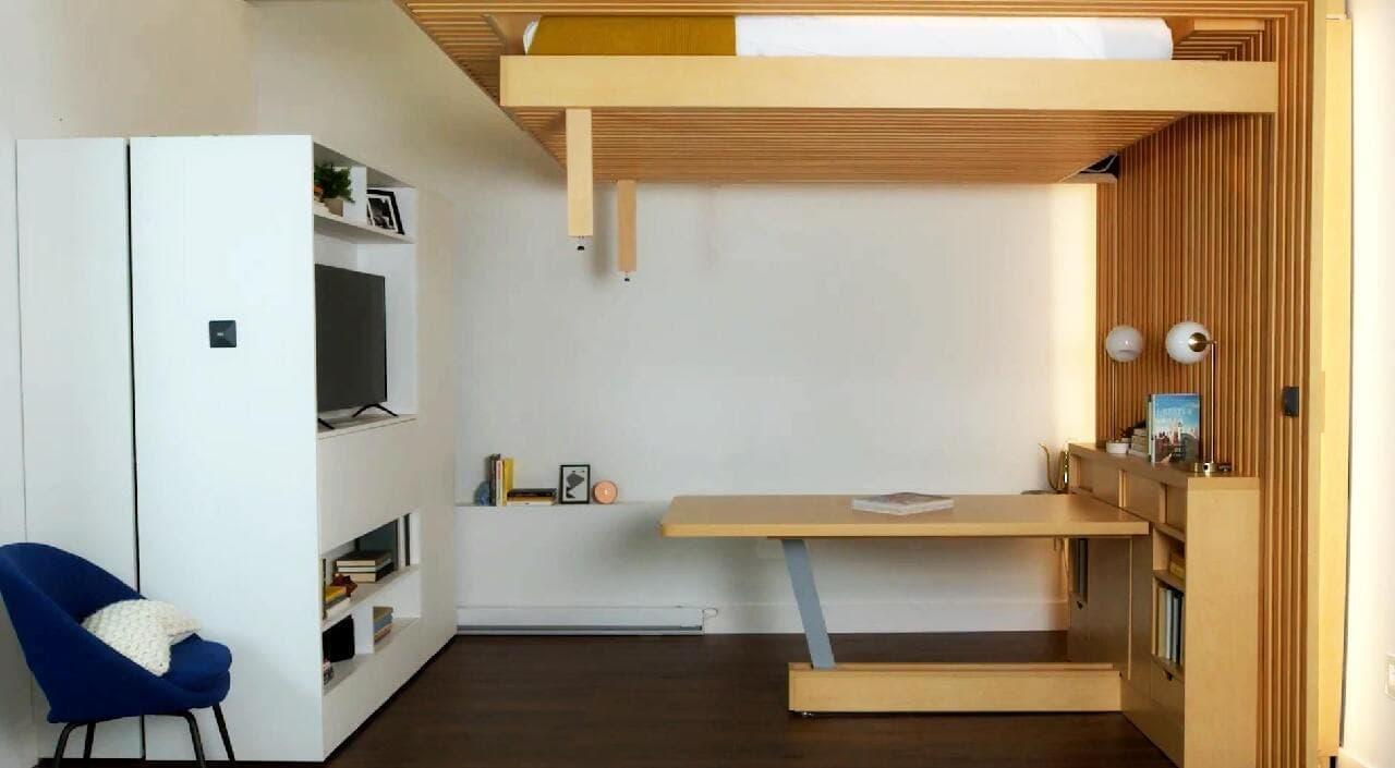 テレワークに!仕事をするときにはベッドを天井に隠す「クラウドベッド テーブルエディション」