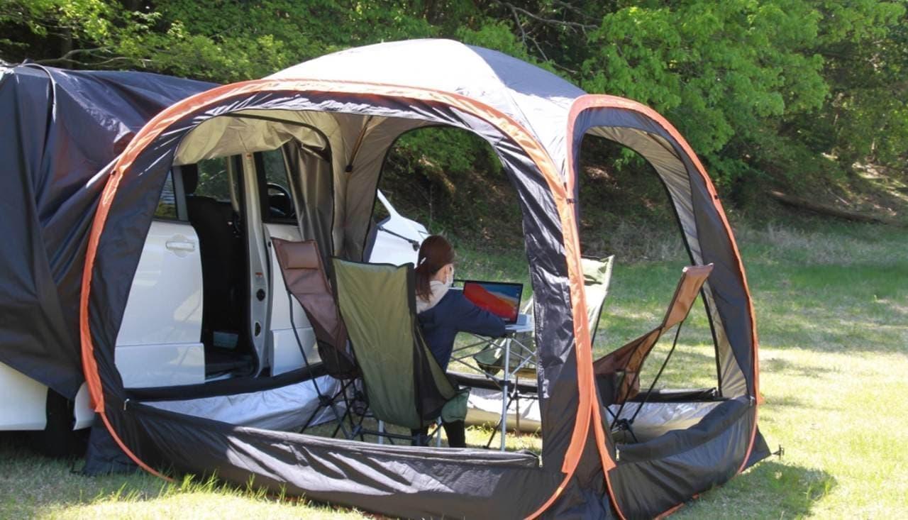 クルマに連結できるテント「LINK POP」Makuakeに登場 2つ繋げて居住空間をアップ!
