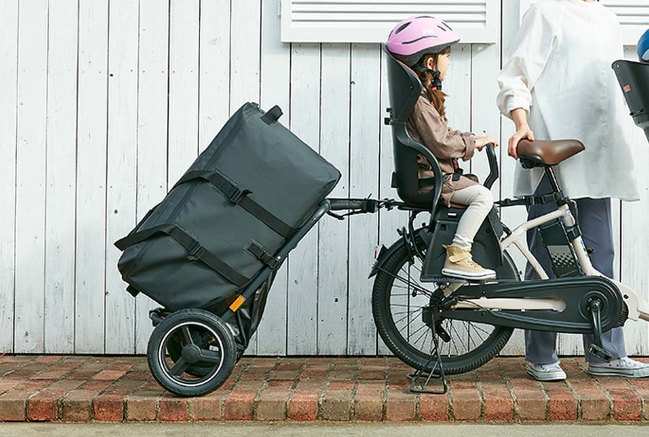 子乗せ自転車でも牽引できるトレーラー「キャミリー」 自転車用チャイルドシート大手オージーケー技研が発売