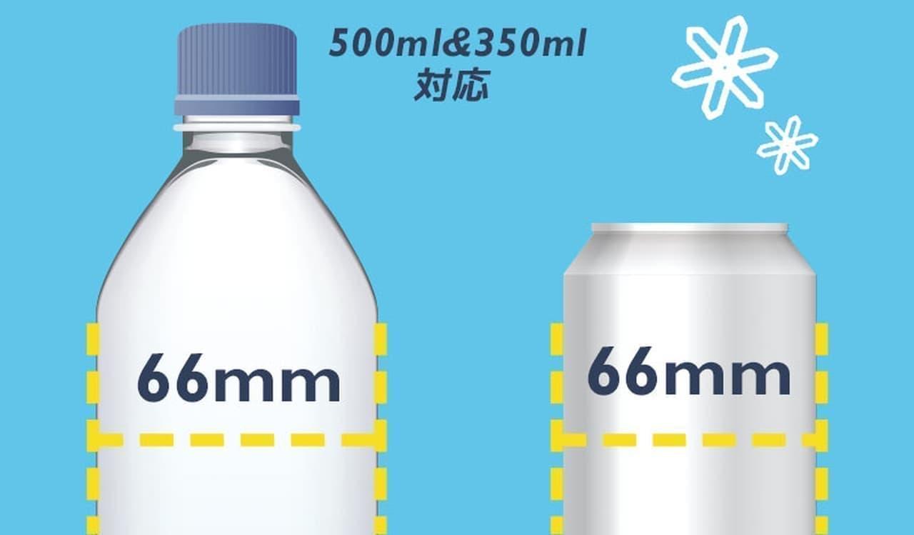 市販の缶飲料のサイズを研究してデザインされており、内部の冷却プレートが缶に密着。効率的に冷却します。