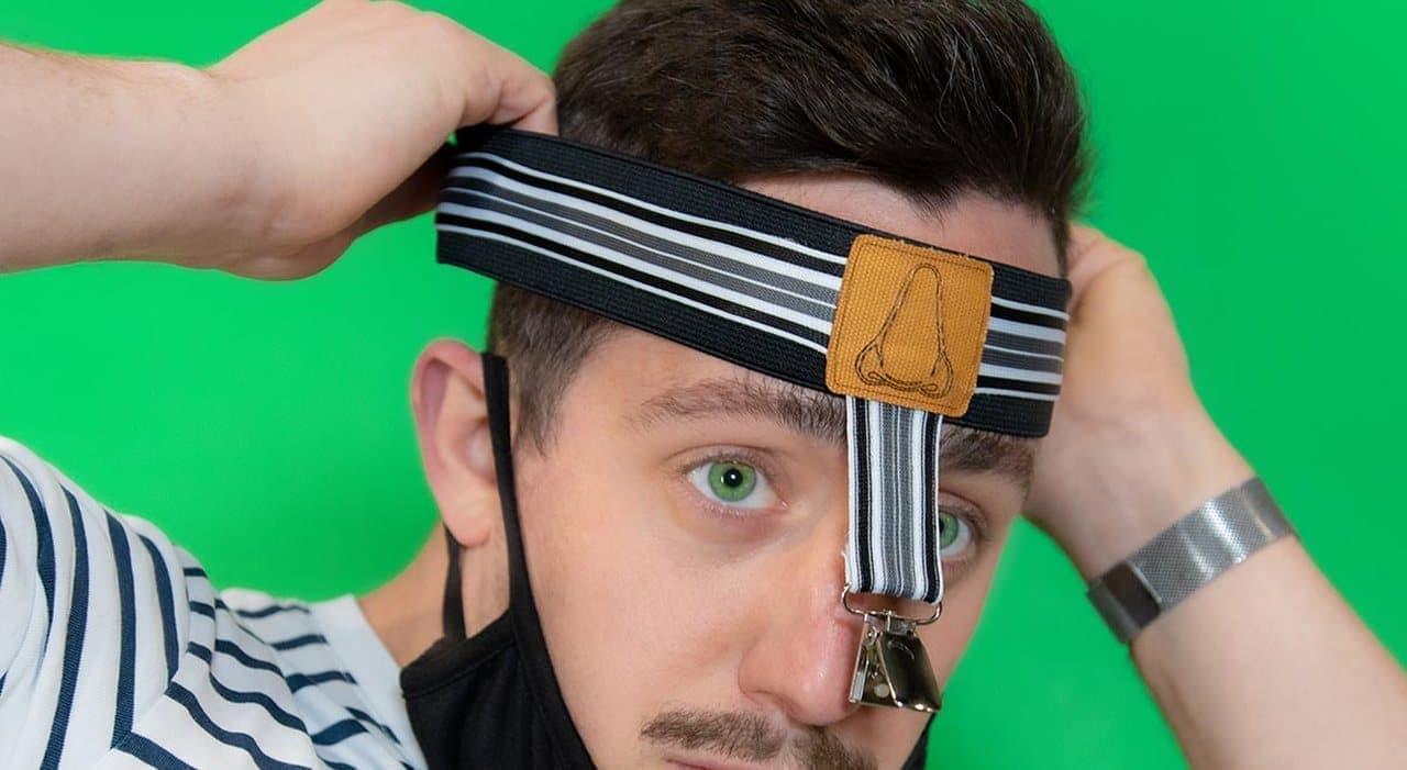 鼻出しマスクを防ぐマスク用のサスペンダー「Mask-Spenders」