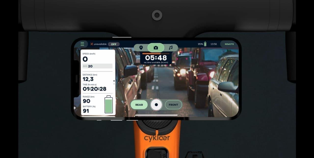 デジタルバックミラー&前後ドラレコ付き 安全装備が充実した電アシStorck Cyklaer