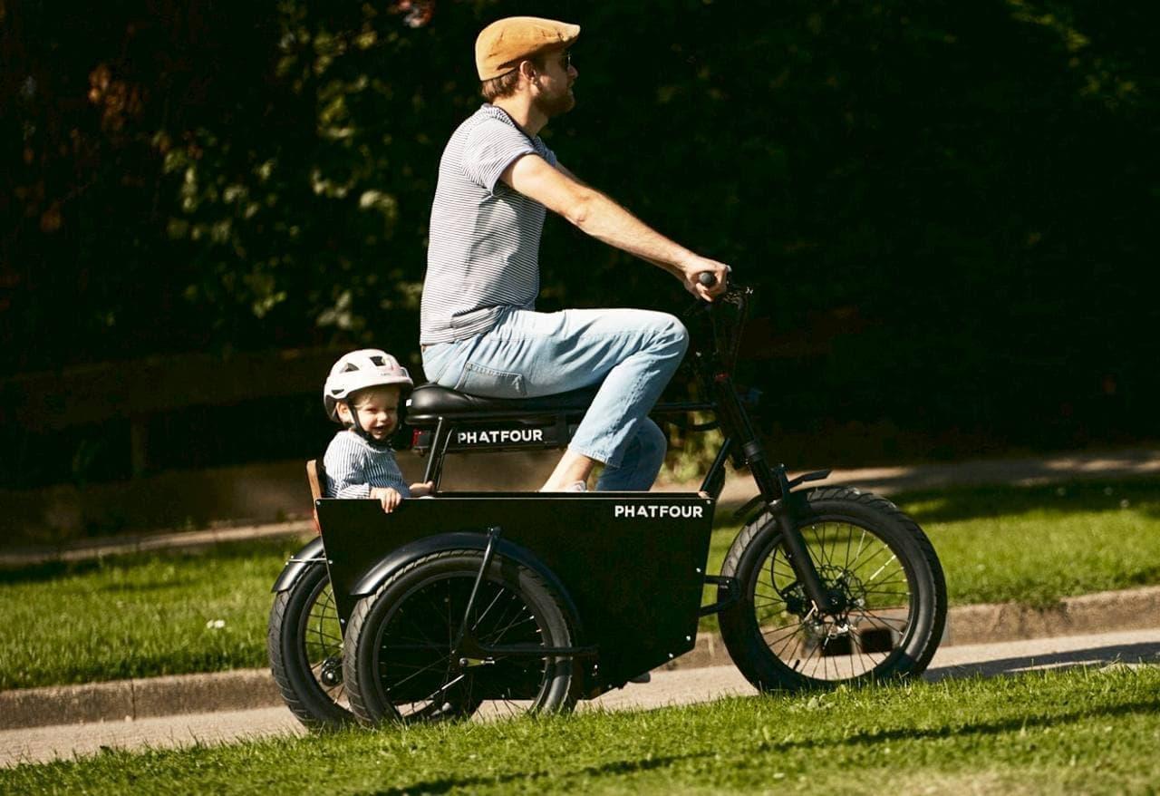自転車用のサイドカーPhatfour「Sidecar」 倒れにくく子どもの顔を確認しやすい