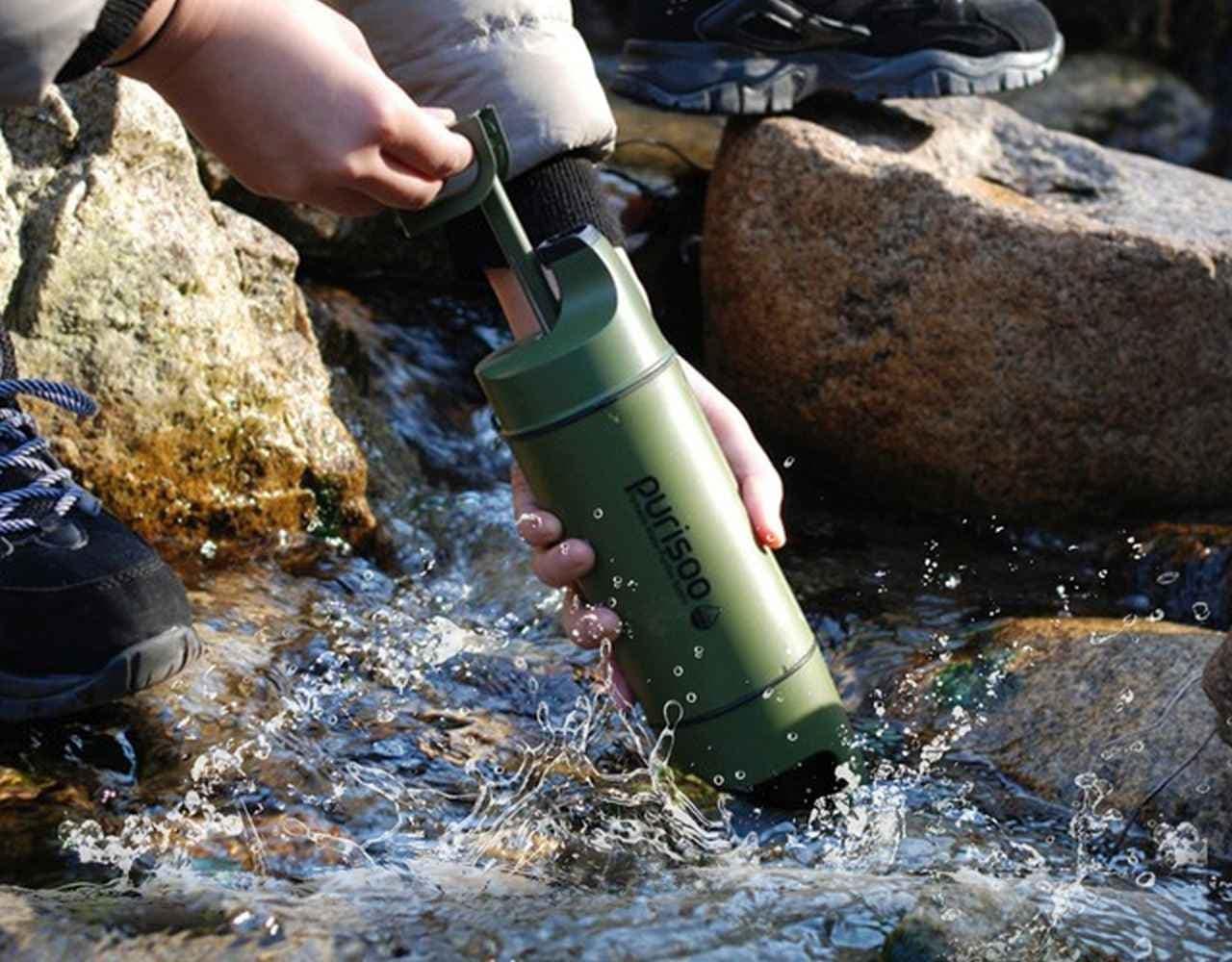ポータブル浄水ボトル「Purisoo+」 キャンプはもちろん災害時にも