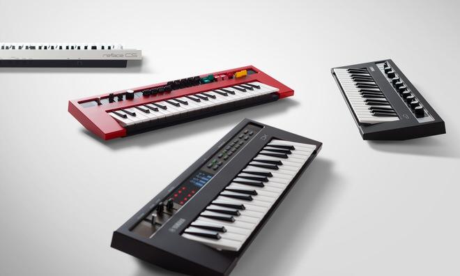 ヤマハによる展示製品:シンセサイザー「reface」  シンセサイザーやキーボードを現代風にアレンジ